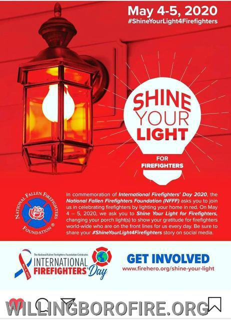 Shine Your Light for firefighters in Willingboro and around the world